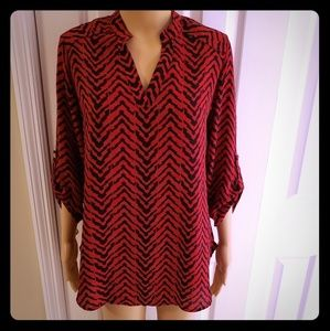 CATO BRAND RED AND BLACK V-NECK TUNIC TOP ~ SMALL